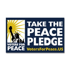 Voters for Peace Peace pledge is being taken by growing numbers of Americans believing in constitution, human rights, geneva convention and international law
